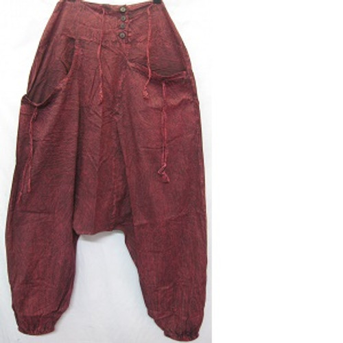 Haram Pants Maroon Has front pockets & back pocket. Rouched waiste with shirring at back for easy fit & comfort. Elastic at ankles. Stonewash look light 100% cotton One size fits 10-16