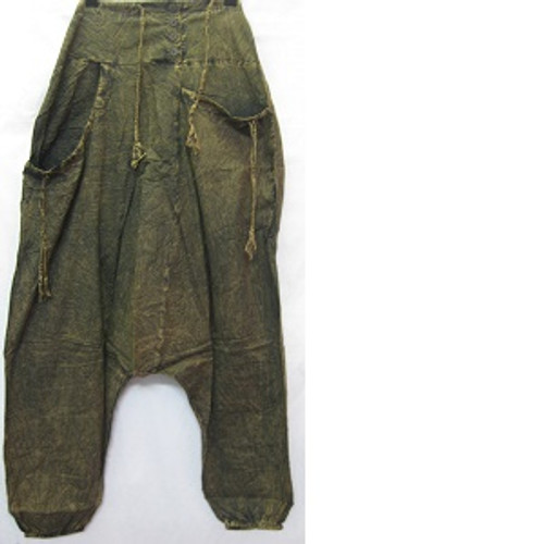 Haram Pants Blackish/Greenish Has front pockets & back pocket. Rouched waiste with shirring at back for easy fit & comfort. Elastic at ankles. Stonewash look light 100% cotton One size fits 10-16