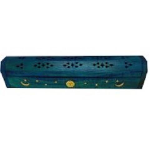 Inscense/Cone Burner Blue Has compartment underneath to store inscense sticks. wooden, 30cm long x 7cm