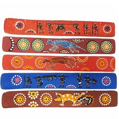 Inscense Burner Flat Australiana Wooden burner with Australia artwork. Approx 28cm x 4cm