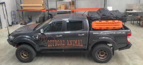 Offroad Animal Tub Rack fitted with Roof top tent, maxtrax, shovel and axe