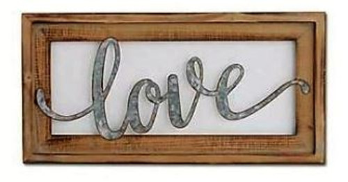 Tin Cutout Wall Sign in Wood Frame - Love