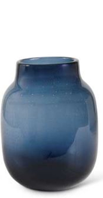 Blue Dotted Glass Vase 8""
