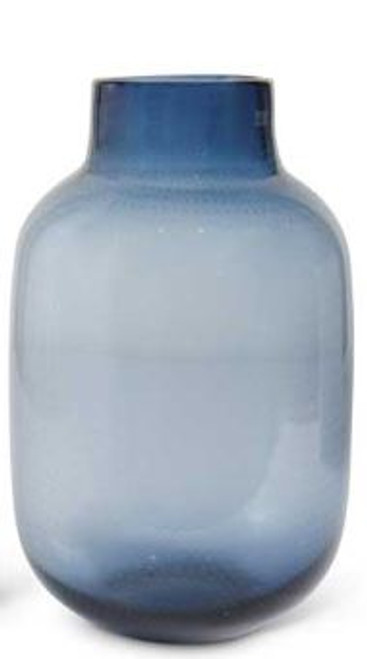 Blue Dotted Glass Vase 11""