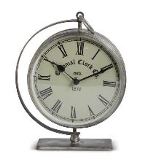 Clock- Brushed Silver Metal Desk