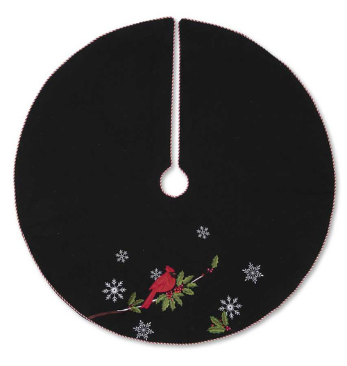 Black Tree Skirt w/ Embroidered Cardinal