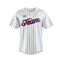 White Pinstripe - Navy and Red Baseball Jersey