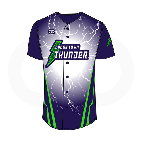 Crosstown Thunder Full-Button Softball Jersey - Navy Lightning Gradient