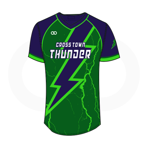 Crosstown Thunder V-Neck Softball Jersey - Green with Navy Bolt
