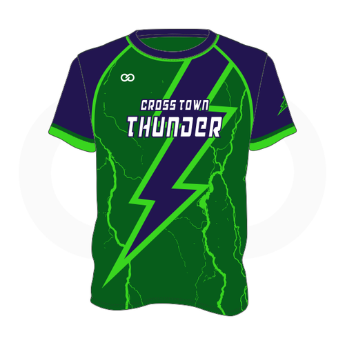 Crosstown Thunder Baseball T-Shirt - Green Lightning Bolt