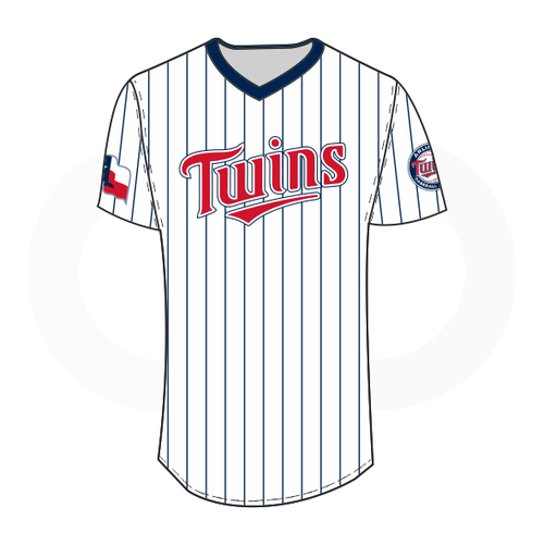Arlington Twins V-Neck Baseball Jersey White