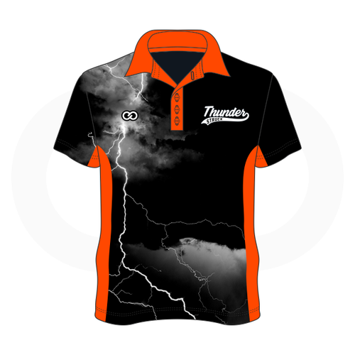 Thunder Struck Black Orange Polo Shirt 1