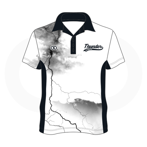Thunder Struck White Black Polo Shirt 1