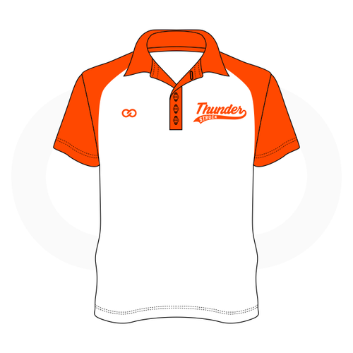 Thunder Struck White Orange Polo Shirt 1