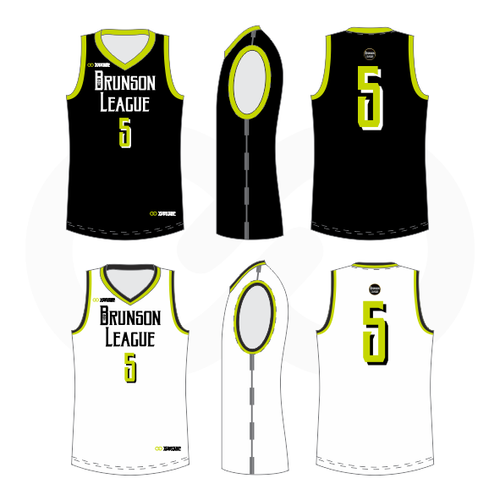 Brunson League Reversible Basketball Jersey - Black, Volt