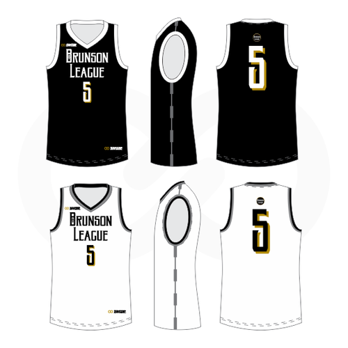 Brunson League Reversible Basketball Jersey - Black,  White, Vegas