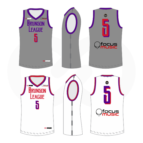 Brunson League Reversible Basketball Jersey -  Grey, Purple, Red