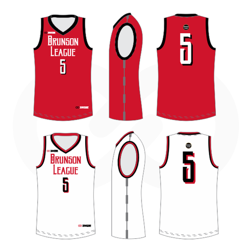 Brunson League Reversible Basketball Jersey - Red, Black