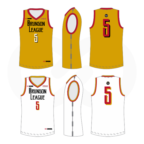 Brunson League Reversible Basketball Jersey - Red, Gold