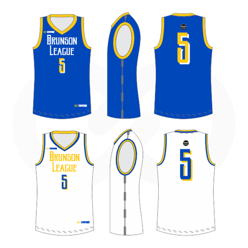 Brunson League Reversible Basketball Jersey - Royal, Gold