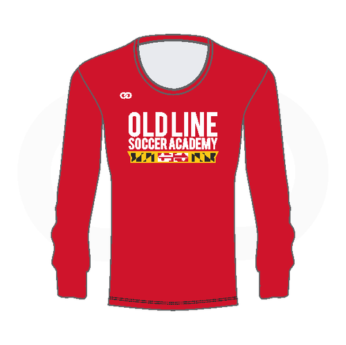 Oldline Soccer Longsleeve  Scoop Neck Shirt - Red