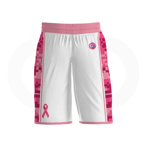 Breast Cancer Awareness Basketball Shorts - White
