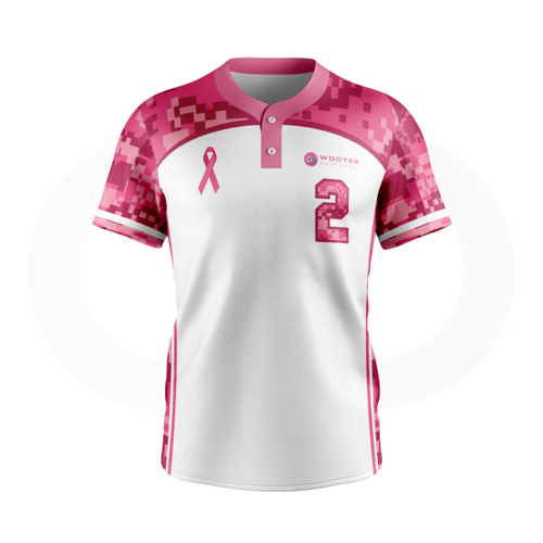 Breast Cancer Awareness Baseball Jersey - White