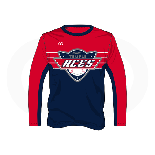 Temple Aces Long Sleeve T-Shirt - Red/Navy