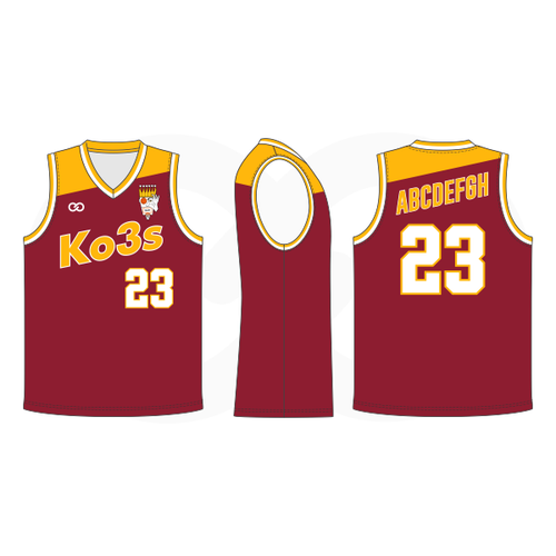 Ko3s Apparel Basketball Jersey - Maroon