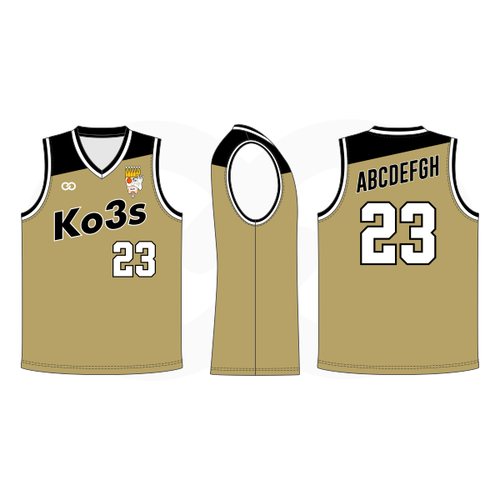 Ko3s Apparel Basketball Jersey - Old Gold
