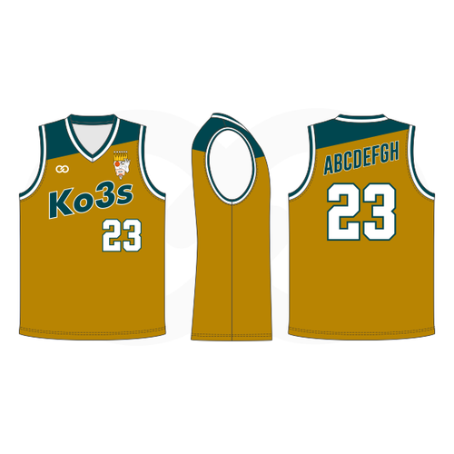 Ko3s Apparel Basketball Jersey - Dark Mustard