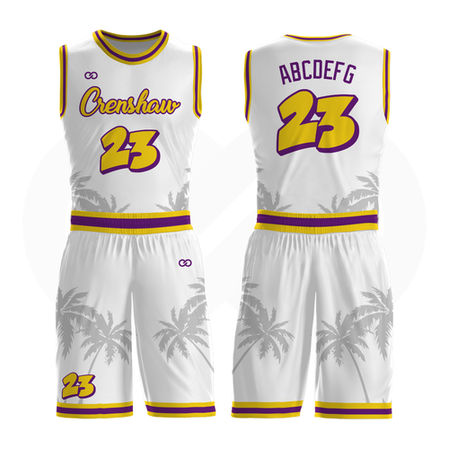 Crenshaw Basketball Uniform Full Set - White