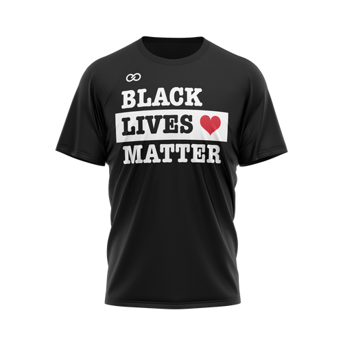 Black Lives Matter text with heart - Black Tee