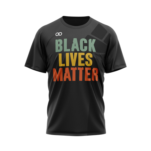 Black Lives Matter Color Text Ghosted Fist - Black Tee