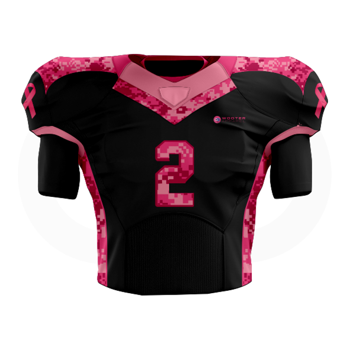 Breast Cancer Football Jersey - Black