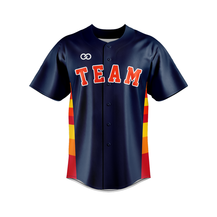 Navy with Red Orange and Gold stripes Baseball Jersey