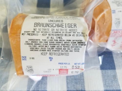Uncured Braunschweiger ($12.75/lb)