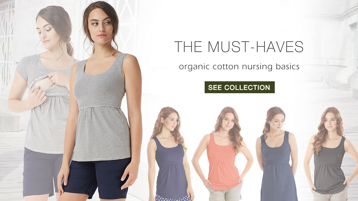 Organic Cotton Nursing Tops and Nursing Dresses - the Must Have Collection by Mothers en Vogue