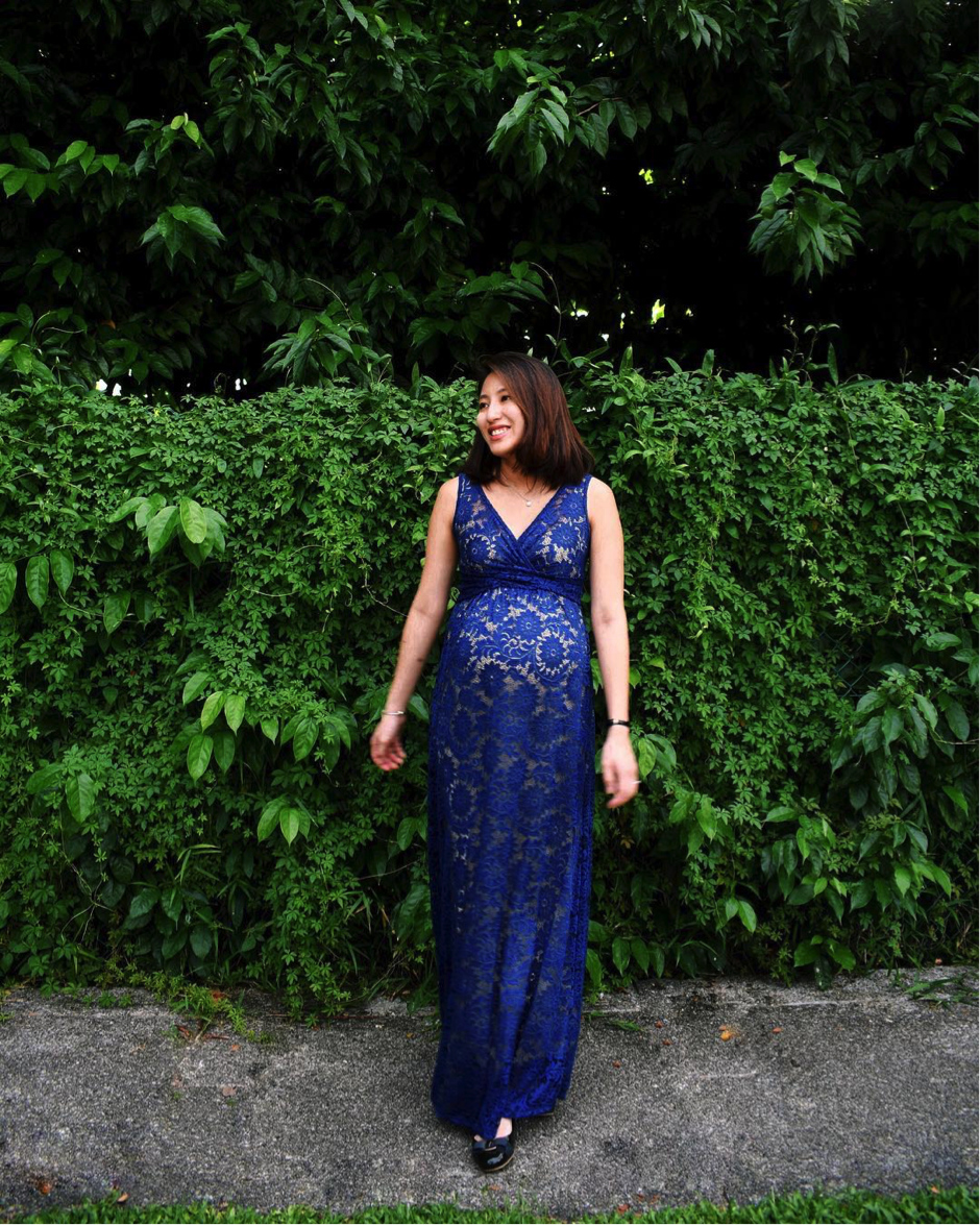 Dressed for that special occasion, the Chantilly Maxi Maternity Dress