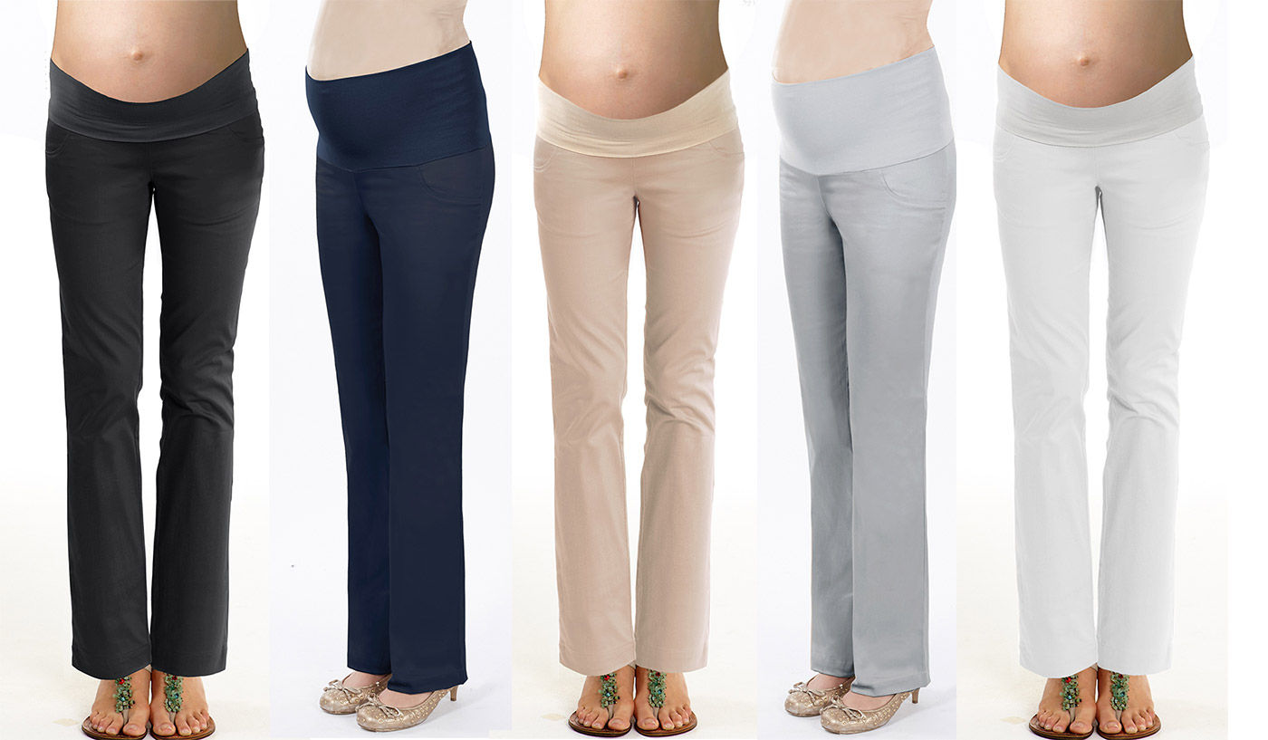 comfy sateen maternity pants for work or office wear