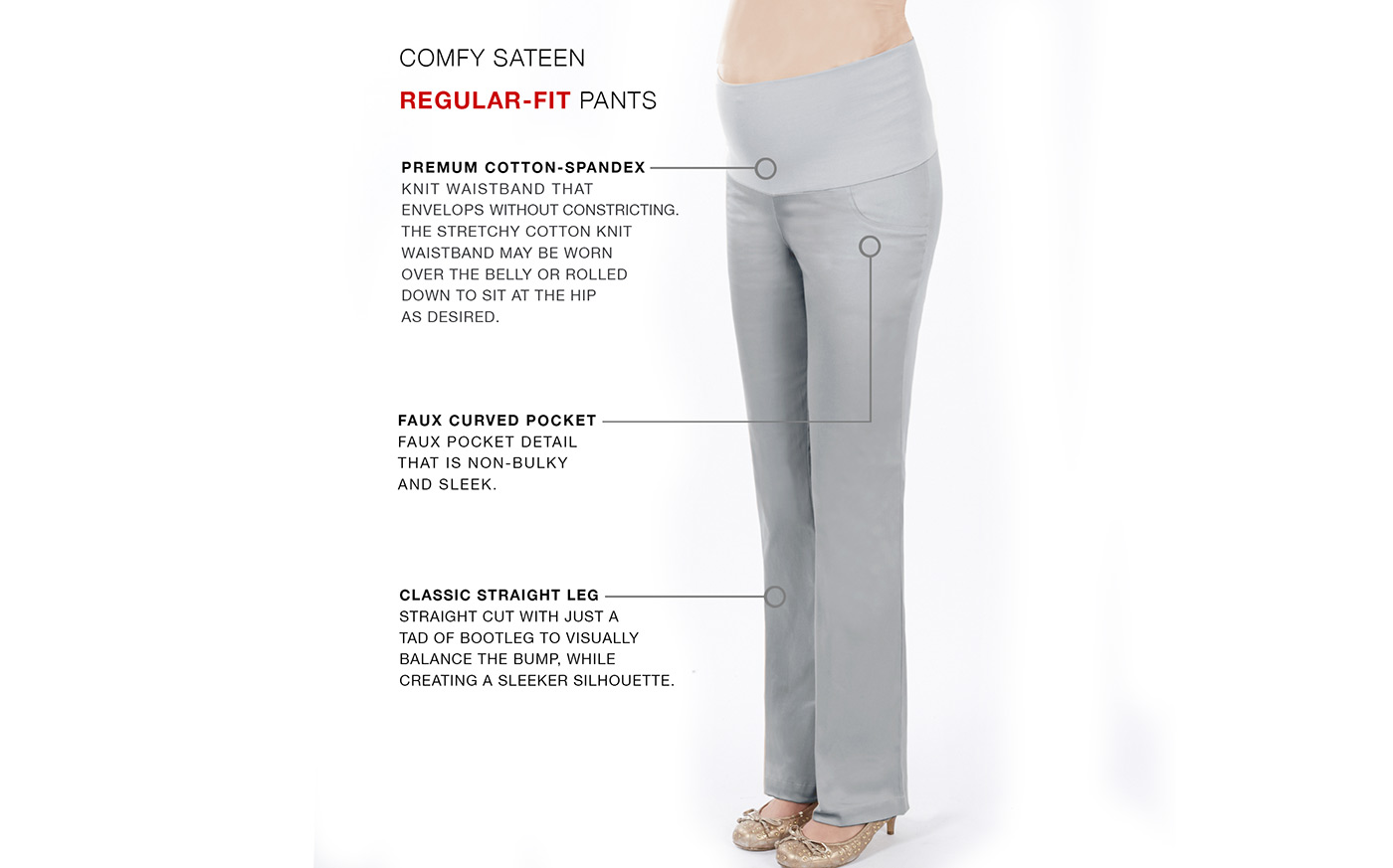 What to look for in a maternity pants - details.