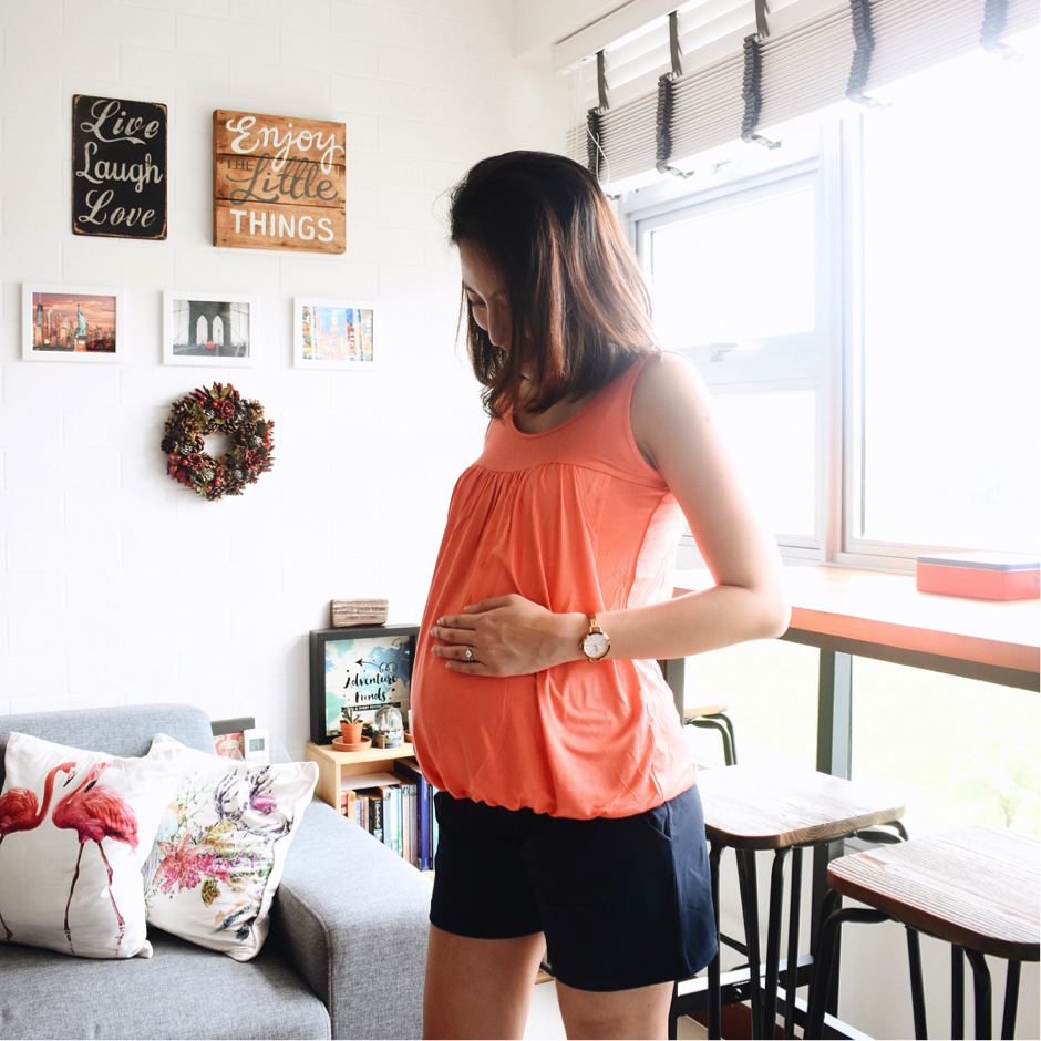 First time mom Cheryl in MEV's Britney Nursing Tank and Maternity Shorts