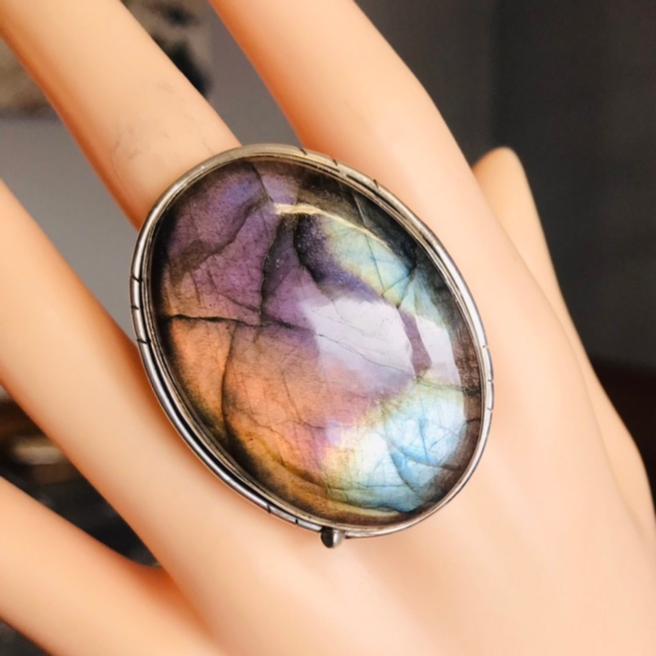 PURPLE LABRADORITE ring size 4 34 ring sterling silver ring
