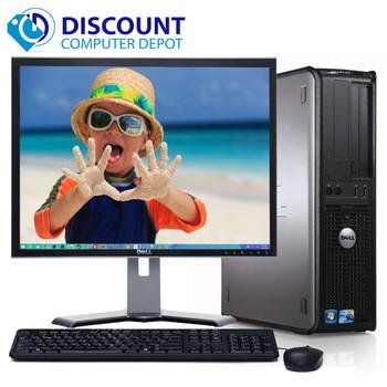 """Fast Dell Optiplex Windows 10 Desktop PC Computer Tower C2D 4GB DVD WiFi 17"""" LCD"""