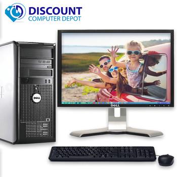 "Dell Optiplex Tower Windows 10 Desktop Computer Dual Core 4gb DVD Wifi 17"" LCD"