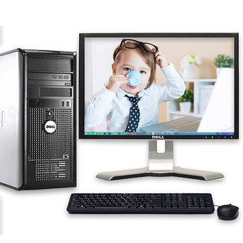 "Fast Dell Optiplex Desktop Computer Tower Windows 10 Core2Duo 4GB 250GB 17"" LCD"
