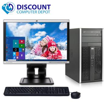 "HP 6000 Desktop Computer Tower PC C2D 3.0GHz 8GB 500GB Win10 Pro w/19"" LCD"