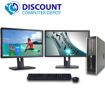 "HP Elite 8100 Desktop PC Computer i5 3.1GHz 4GB 500GB Dual 19""LCD's Windows 10"