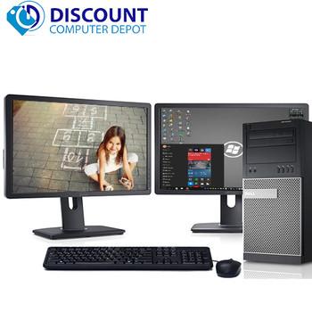 """Dell Optiplex Windows 10 PC Tower Quad i5 3.1GHz 8GB 1TB w/Dual 22"""" LCD's"""