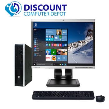 "HP 8000 Small Thin Desktop Computer PC C2D 3.0GHz 4GB 160GB 22"" LCD Win10"